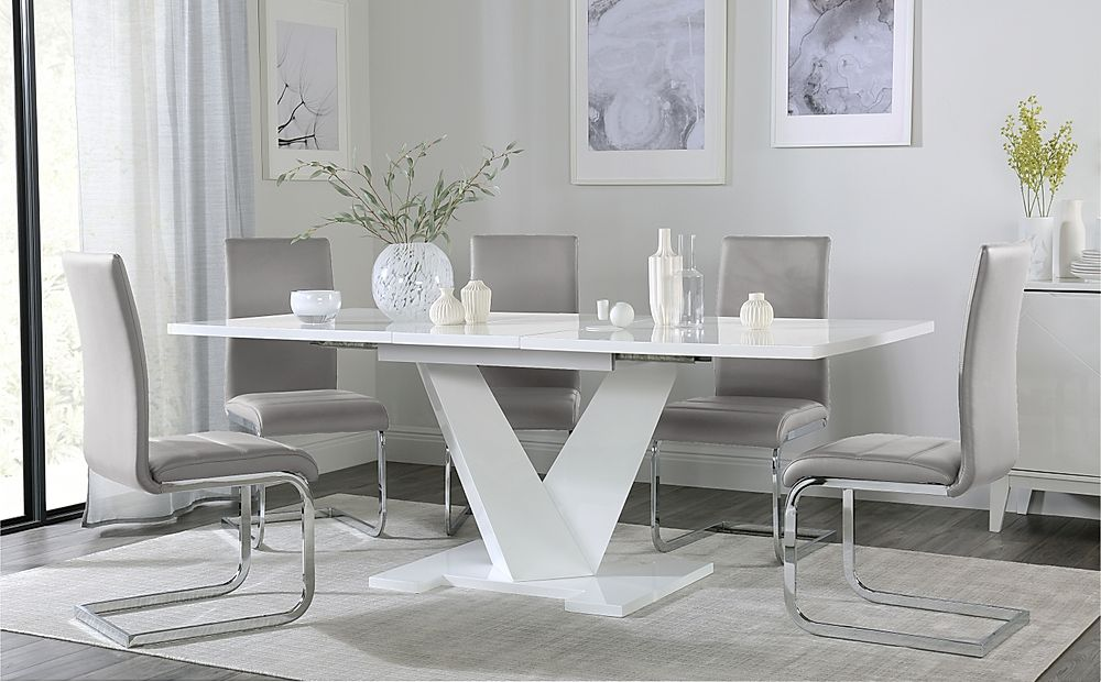 Turin White High Gloss Extending Dining Table with 4 Perth Light Grey Leather Chairs