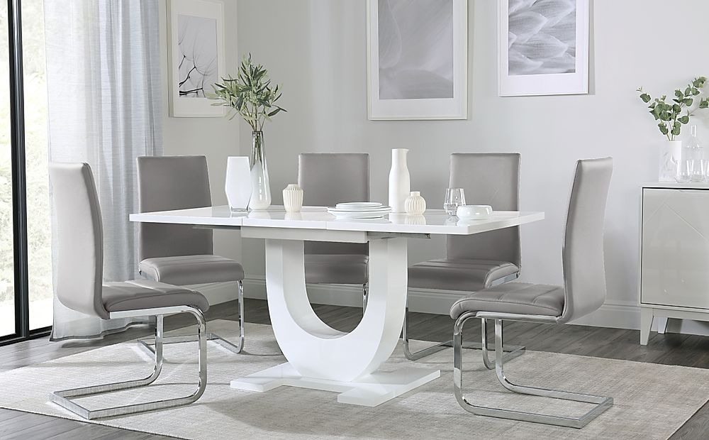 Oslo White High Gloss Extending Dining Table with 6 Perth Light Grey Leather Chairs