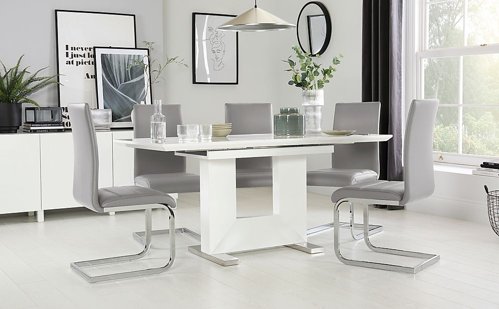 Florence White High Gloss Extending Dining Table with 6 Perth Light Grey Leather Chairs
