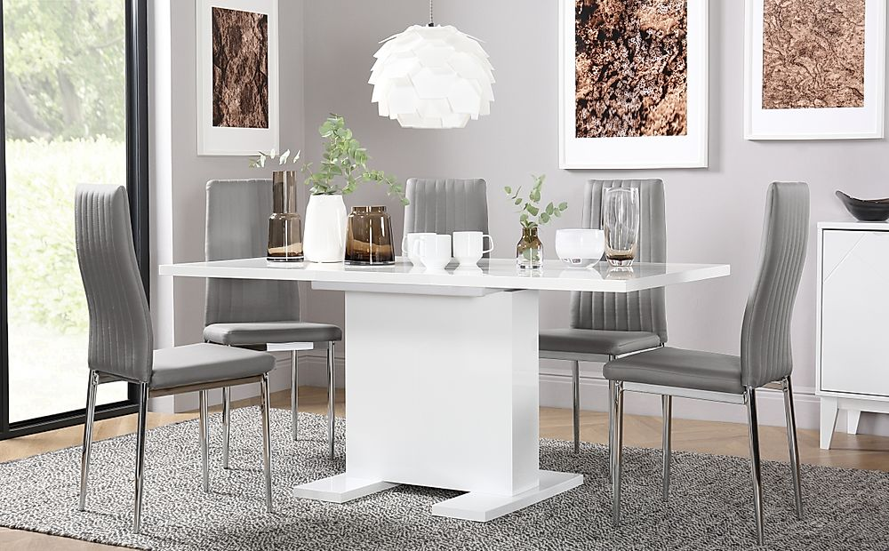 Osaka White High Gloss Extending Dining Table with 6 Leon Light Grey Chairs (Chrome Legs)