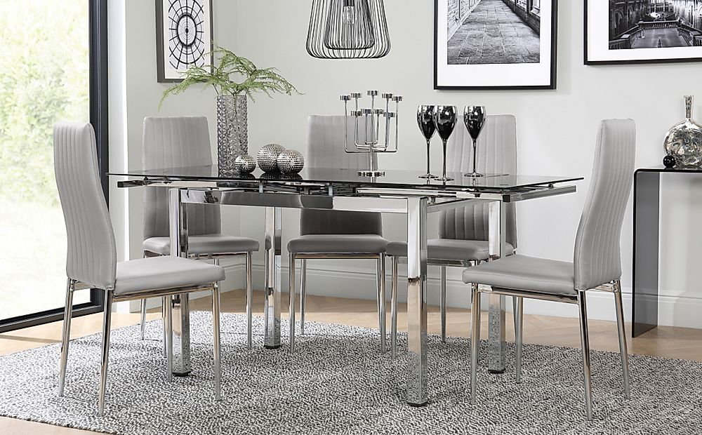 Space Chrome and Black Glass Extending Dining Table with 6 Leon Light Grey Leather Chairs