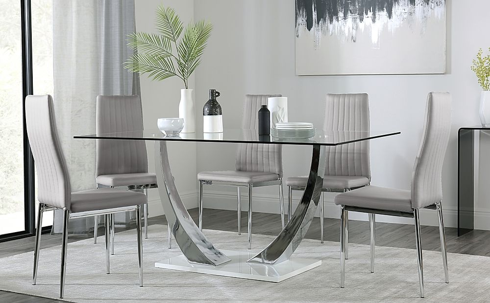 Peake Glass and Chrome Dining Table (White Gloss Base) with 6 Leon Light Grey Chairs
