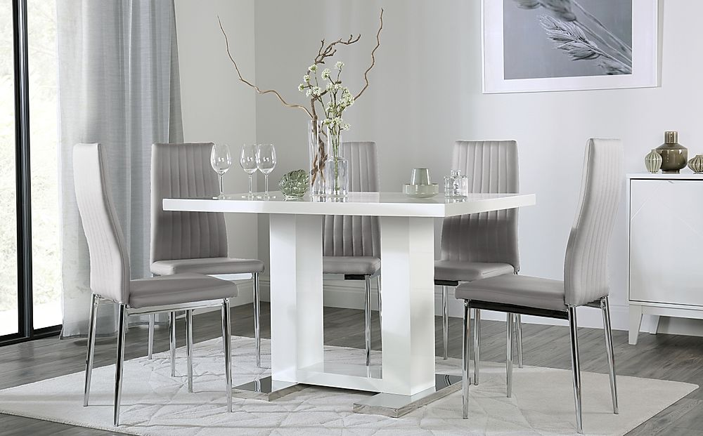 Joule White High Gloss Dining Table with 4 Leon Light Grey Chairs