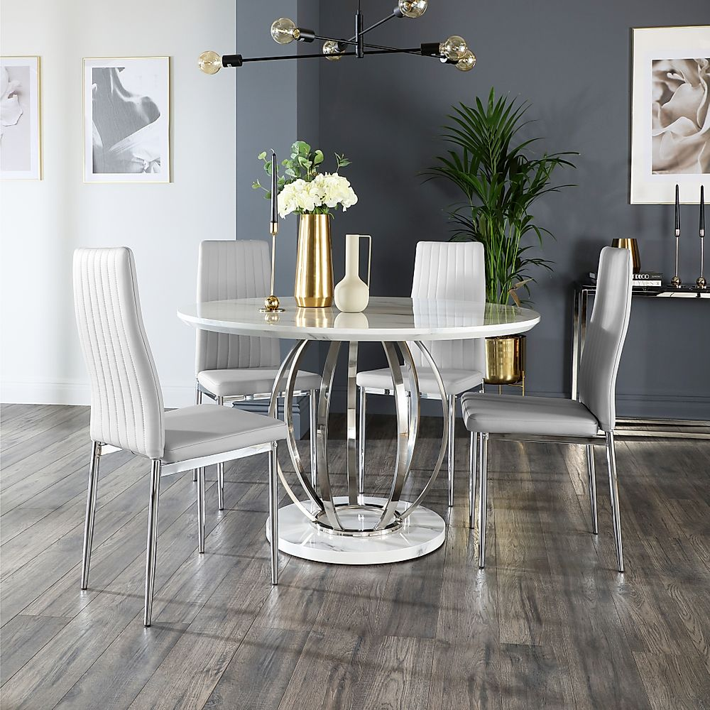 Savoy Round White Marble and Chrome Dining Table with 4 Leon Light Grey Leather Chairs