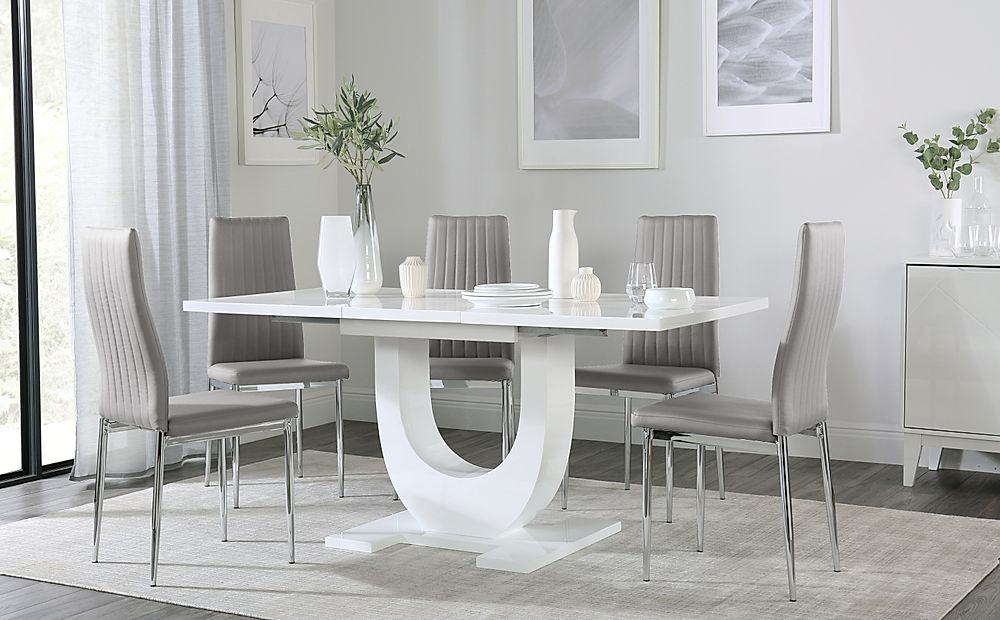 Oslo White High Gloss Extending Dining Table with 6 Leon Light Grey Leather Chairs