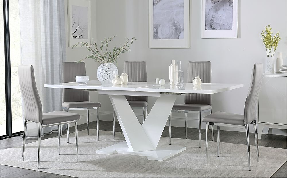 Turin White High Gloss Extending Dining Table with 8 Leon Light Grey Leather Chairs