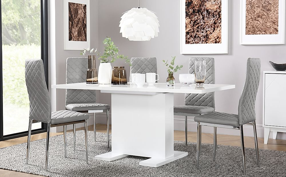 Osaka White High Gloss Extending Dining Table with 4 Renzo Light Grey Chairs (Chrome Legs)