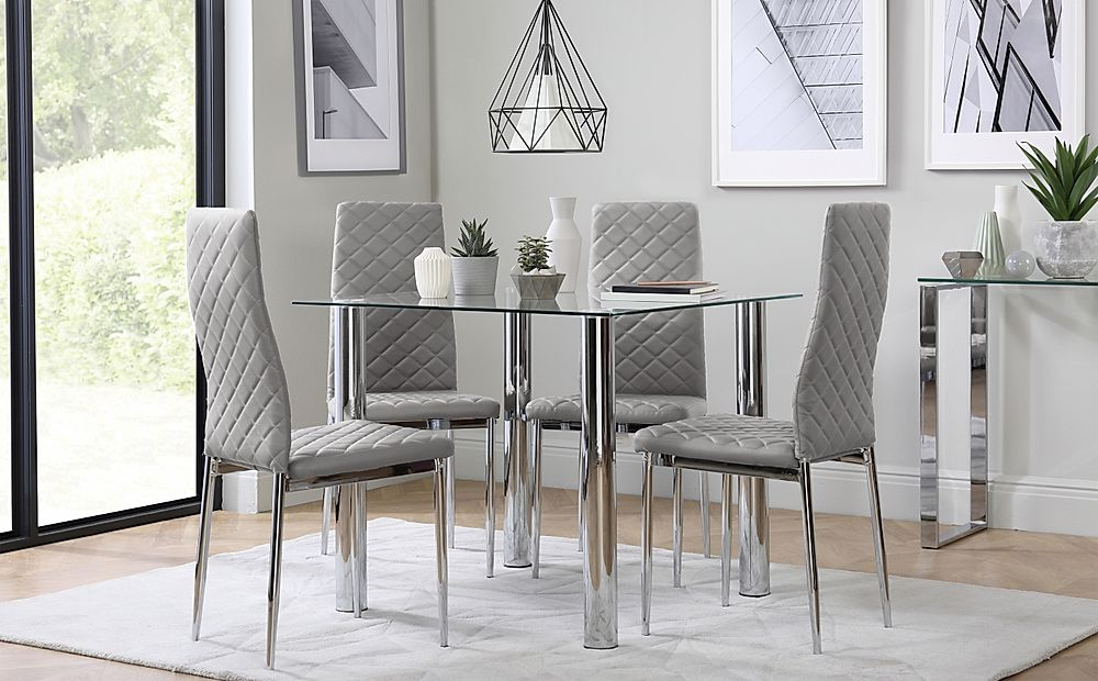 Nova Square Glass and Chrome Dining Table with 4 Renzo Light Grey Leather Chairs