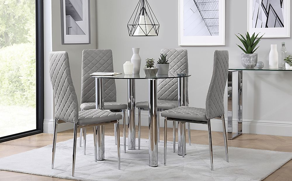 Solar Round Chrome and Glass Dining Table with 4 Renzo Light Grey Chairs