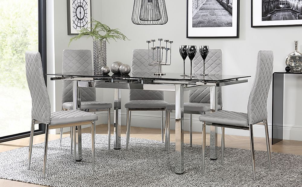 Space Chrome and Black Glass Extending Dining Table with 6 Renzo Light Grey Leather Chairs