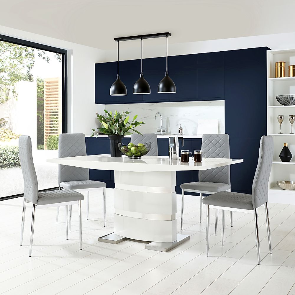Komoro White High Gloss Dining Table with 6 Renzo Light Grey Leather Chairs