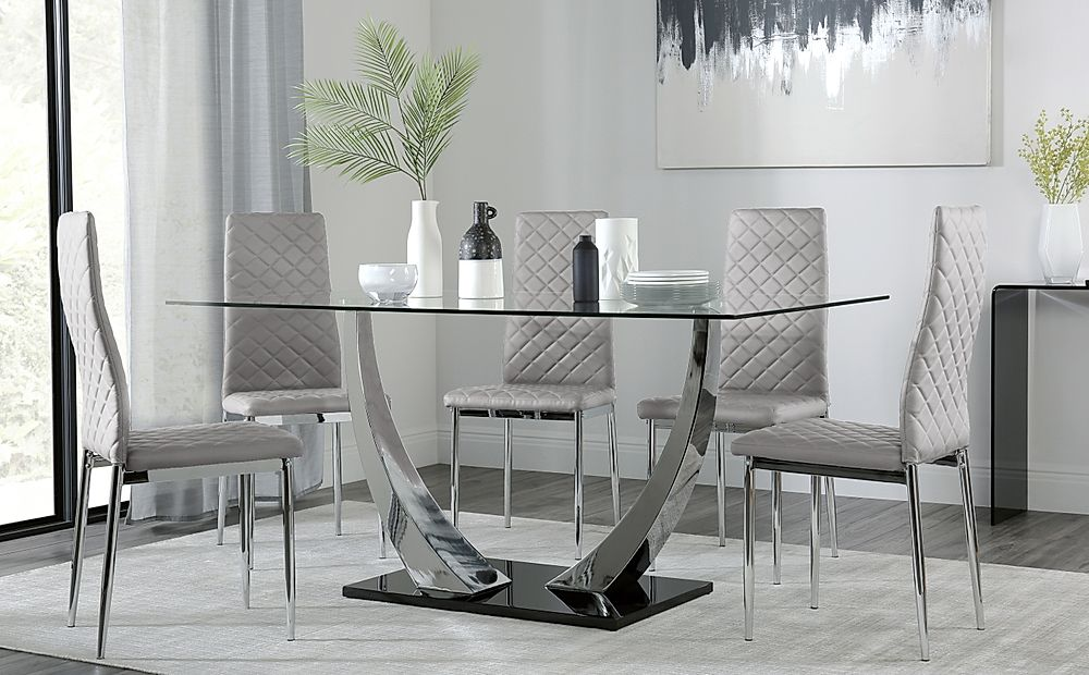 Peake Glass and Chrome Dining Table (Black Gloss Base) with 6 Renzo Light Grey Leather Chairs