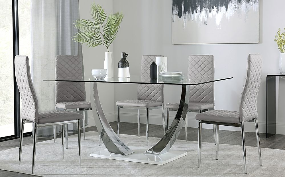 Peake Glass and Chrome Dining Table (White Gloss Base) with 6 Renzo Light Grey Leather Chairs