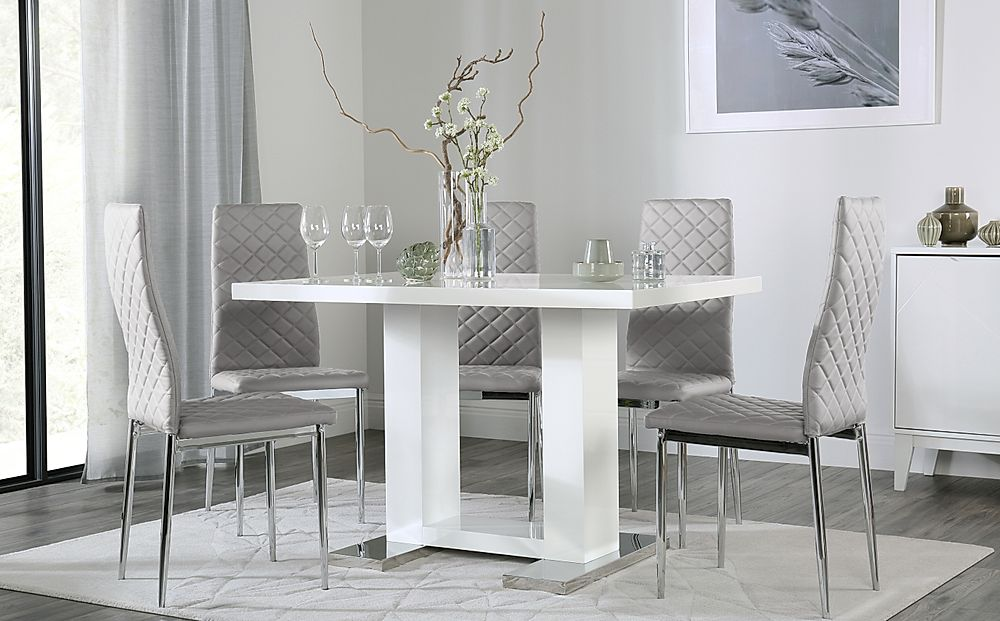 Joule White High Gloss Dining Table with 4 Renzo Light Grey Chairs