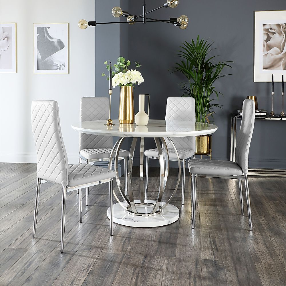 Savoy Round White Marble and Chrome Dining Table with 4 Renzo Light Grey Leather Chairs