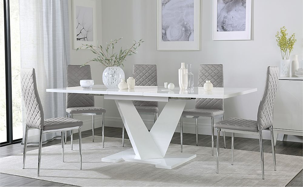 Turin White High Gloss Extending Dining Table with 4 Renzo Light Grey Leather Chairs
