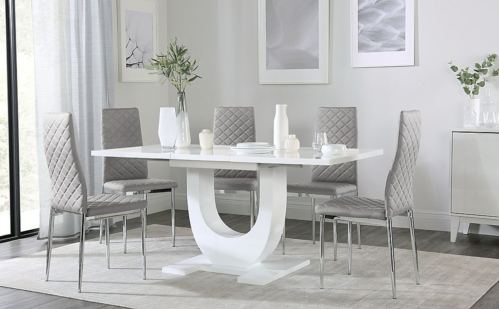 Oslo White High Gloss Extending Dining Table with 4 Renzo Light Grey Dining Chairs