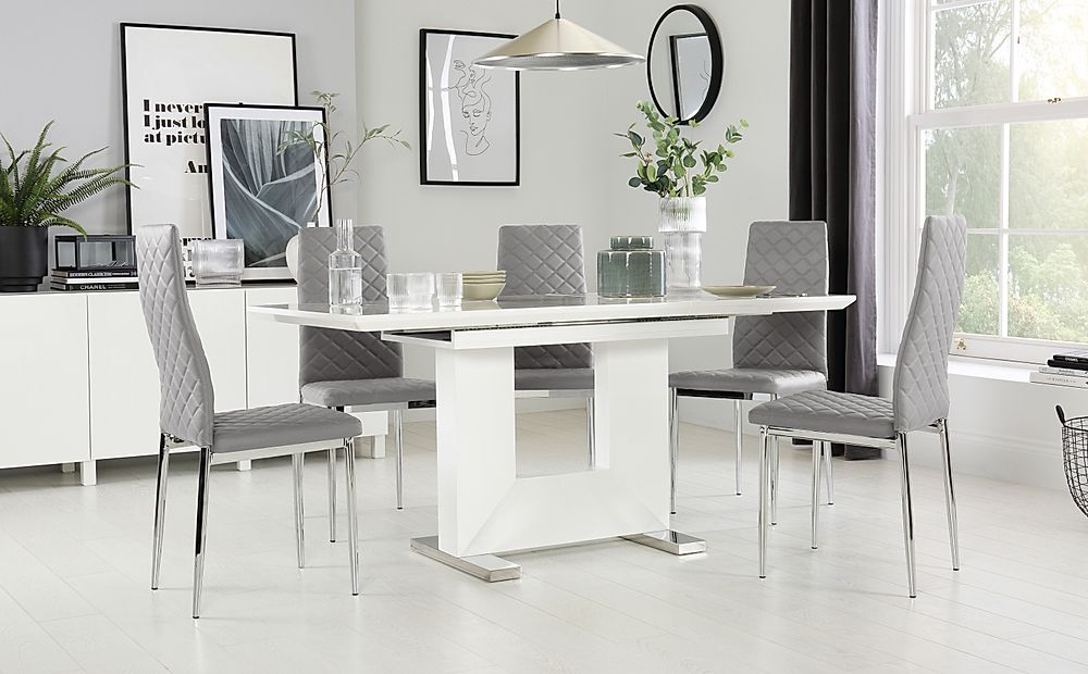 Florence White High Gloss Extending Dining Table with 6 Renzo Light Grey Chairs