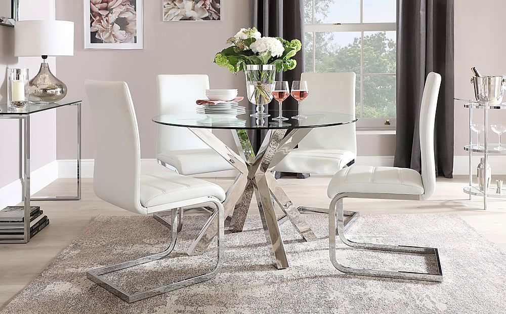 Plaza Round Chrome and Glass Dining Table with 4 Perth White Leather Chairs