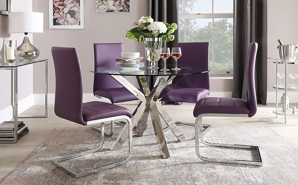 Plaza Round Chrome and Glass Dining Table with 4 Perth Purple Leather Chairs