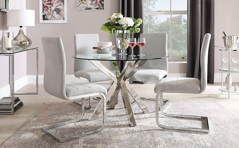 Plaza Round Chrome and Glass Dining Table with 4 Perth Dove Grey Fabric Chairs