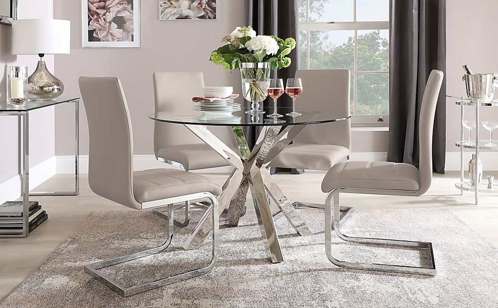 Plaza Round Chrome and Glass Dining Table with 4 Perth Taupe Leather Chairs