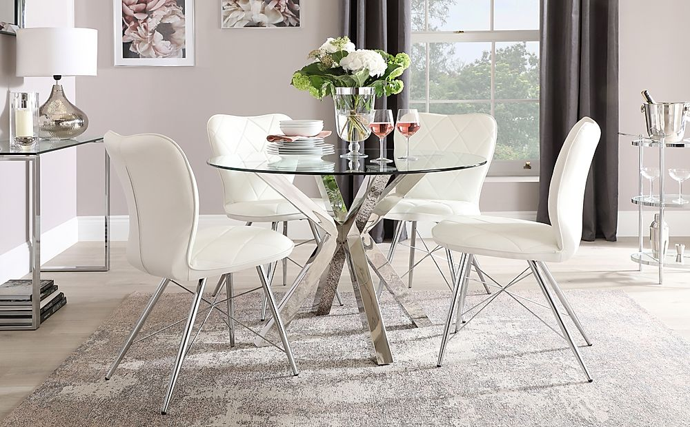 Plaza Round Chrome and Glass Dining Table with 4 Lucca White Leather Chairs