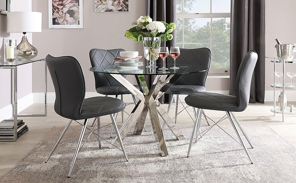 Plaza Round Chrome and Glass Dining Table with 4 Lucca Grey Leather Chairs