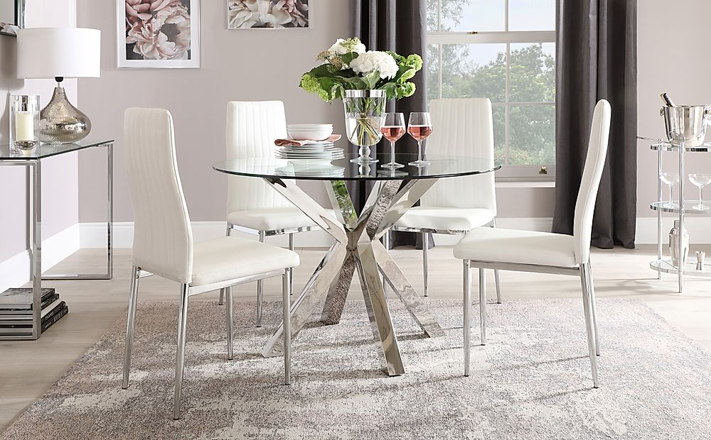 Plaza Round Chrome and Glass Dining Table with 4 Leon White Leather Chairs