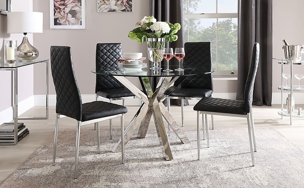 Plaza Round Chrome and Glass Dining Table with 4 Renzo Black Leather Chairs
