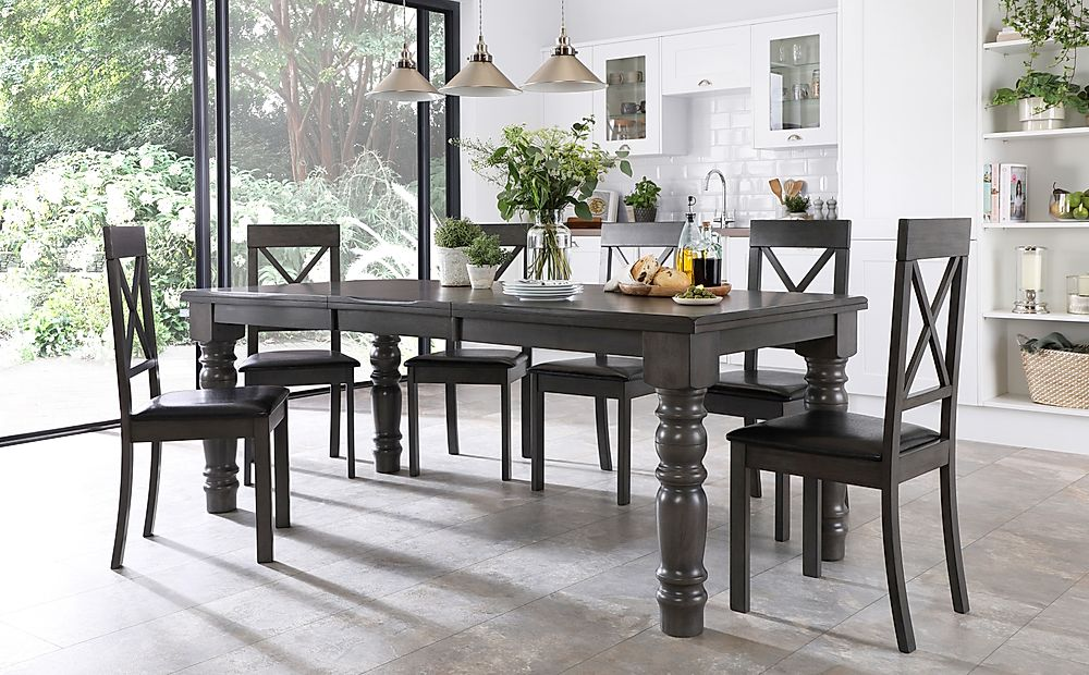 Hampshire Grey Wood Extending Dining Table with 8 Kendal Chairs (Black Leather Seat Pad)