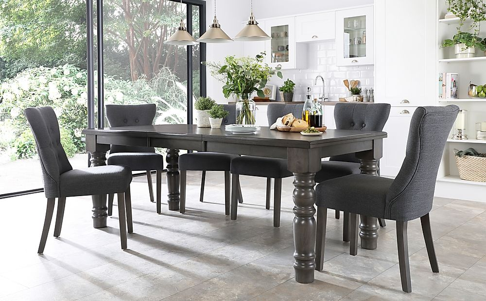 Hampshire Grey Wood Extending Dining Table with 6 Bewley Slate Fabric Chairs