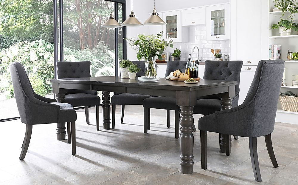 Hampshire Grey Wood Extending Dining Table with 6 Duke Slate Fabric Chairs