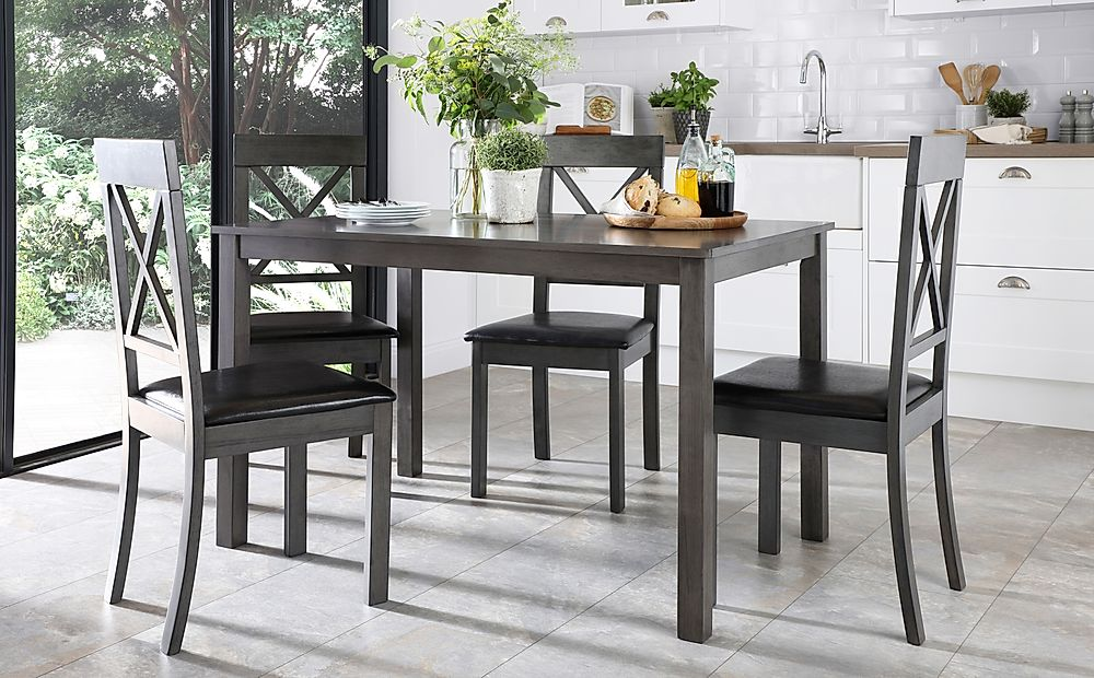 Milton Grey Dining Table with 6 Kendal Chairs (Black Leather Seat Pad)