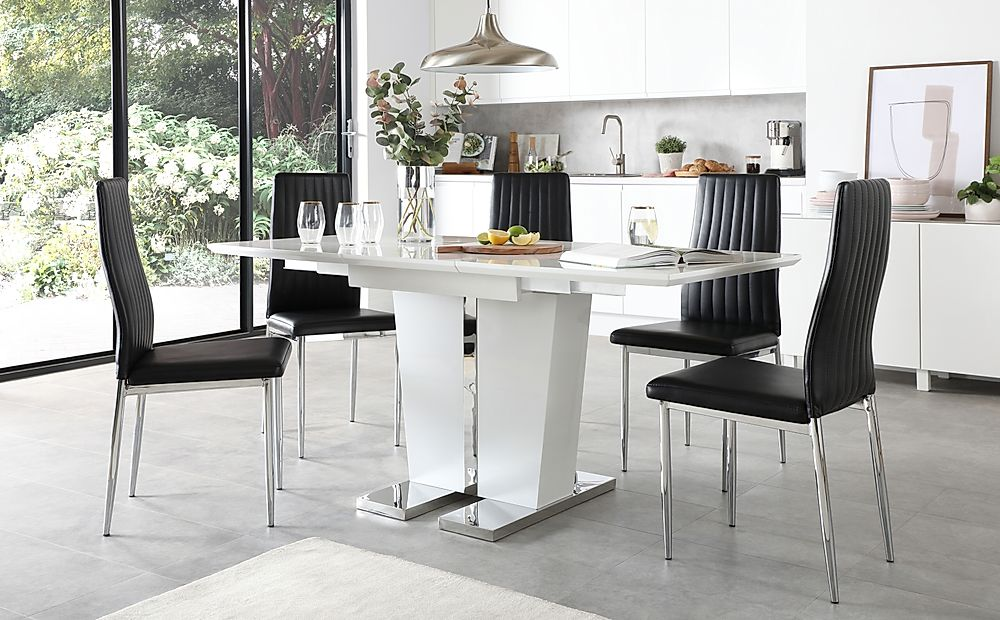 Vienna White High Gloss Extending Dining Table with 4 Leon Black Leather Chairs