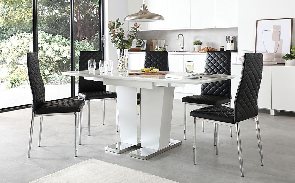 Vienna White High Gloss Extending Dining Table with 6 Renzo Black Leather Chairs