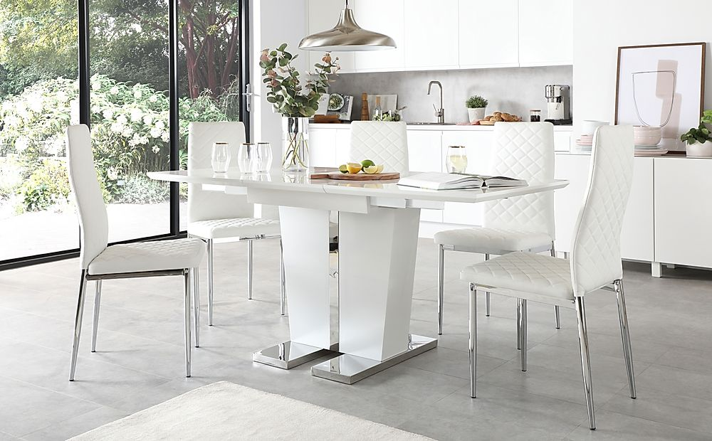 Vienna White High Gloss Extending Dining Table with 6 Renzo White Leather Chairs