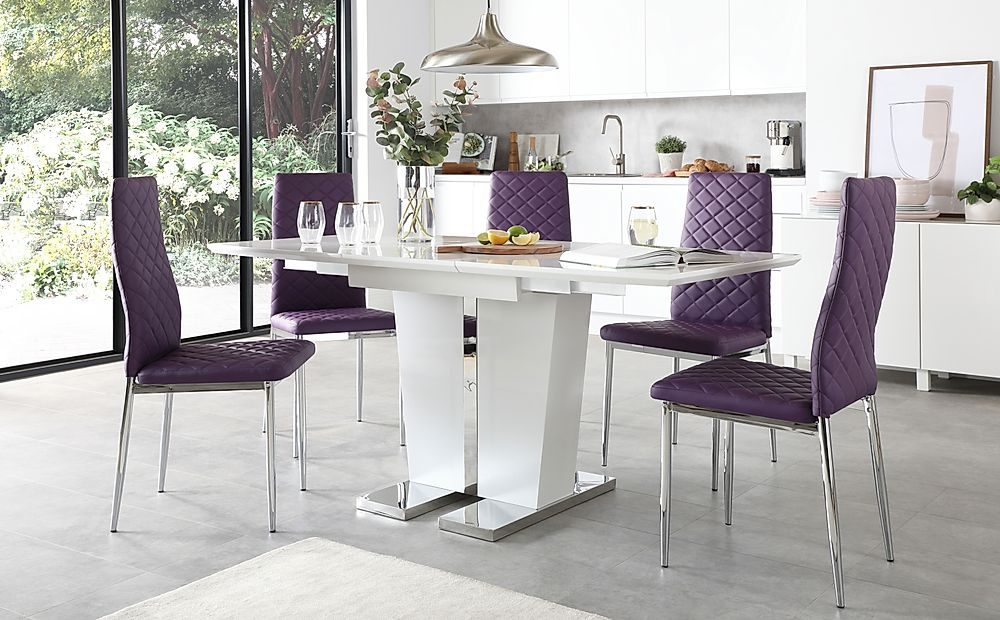 Vienna White High Gloss Extending Dining Table with 4 Renzo Purple Leather Chairs