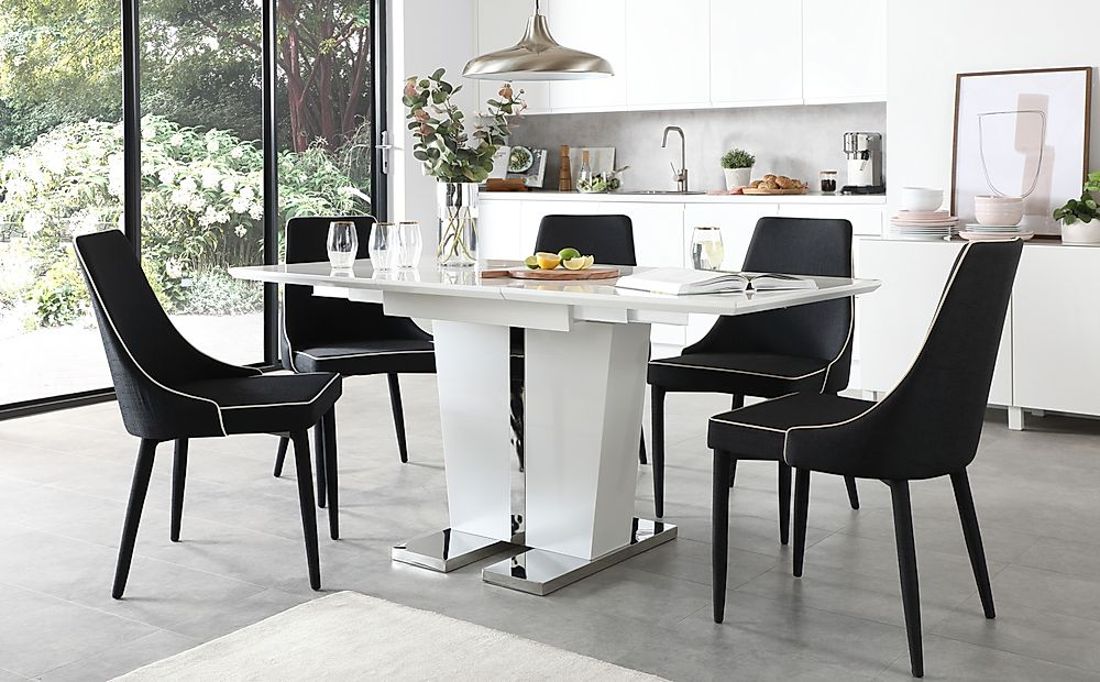 Vienna White High Gloss Extending Dining Table with 4 Modena Black Fabric Chairs