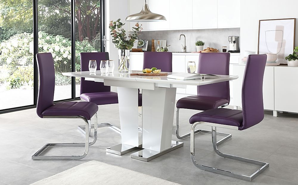 Vienna White High Gloss Extending Dining Table with 6 Perth Purple Leather Chairs