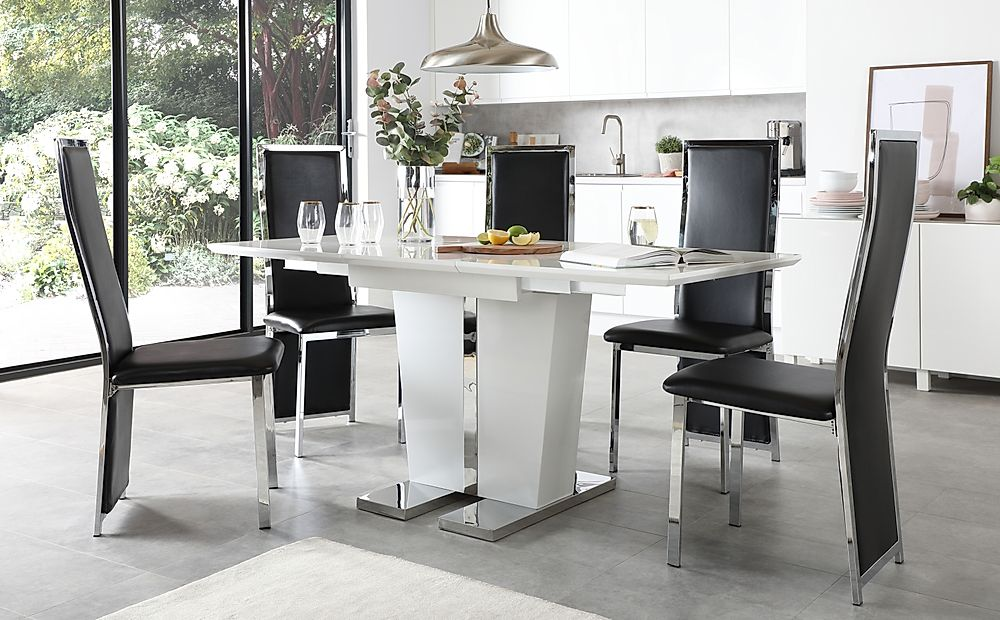 Vienna White High Gloss Extending Dining Table with 4 Celeste Black Leather Chairs