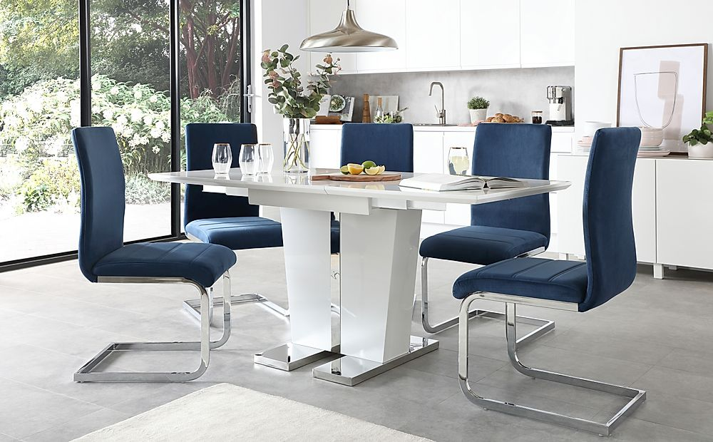 Vienna White High Gloss Extending Dining Table with 6 Perth Blue Velvet Chairs