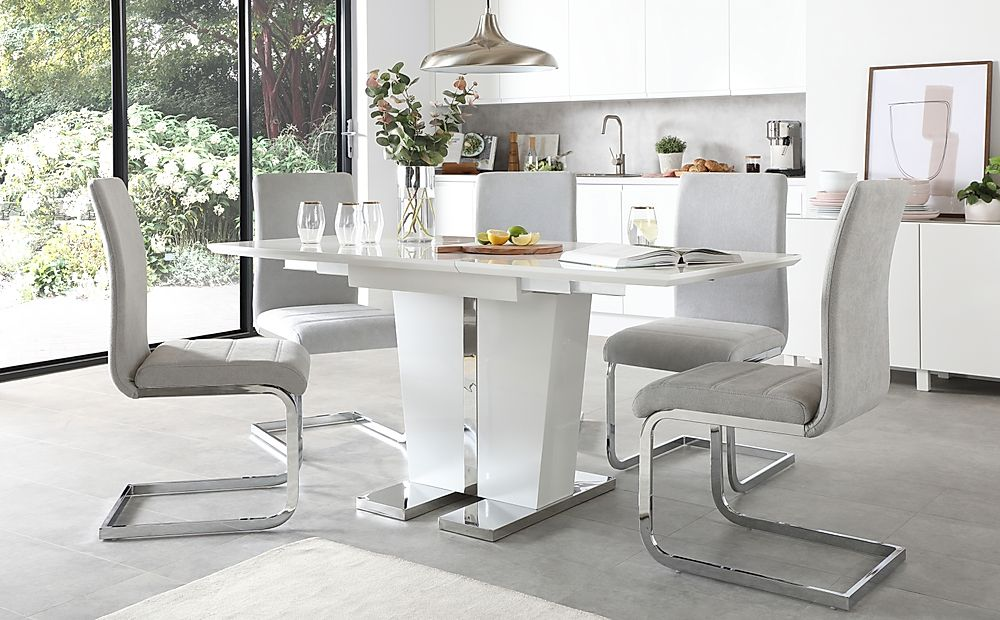 Vienna White High Gloss Extending Dining Table with 6 Perth Dove Grey Fabric Chairs