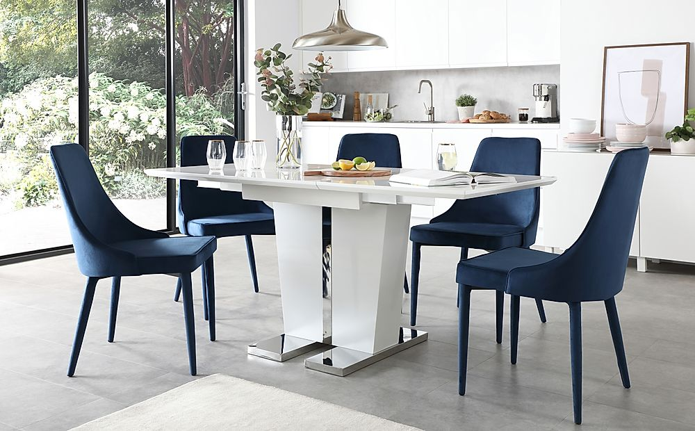 Vienna White High Gloss Extending Dining Table with 4 Modena Blue Velvet Chairs
