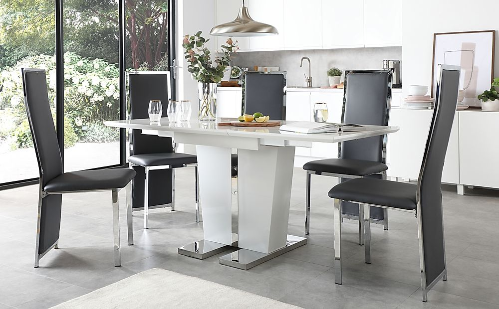 Vienna White High Gloss Extending Dining Table with 4 Celeste Grey Leather Chairs