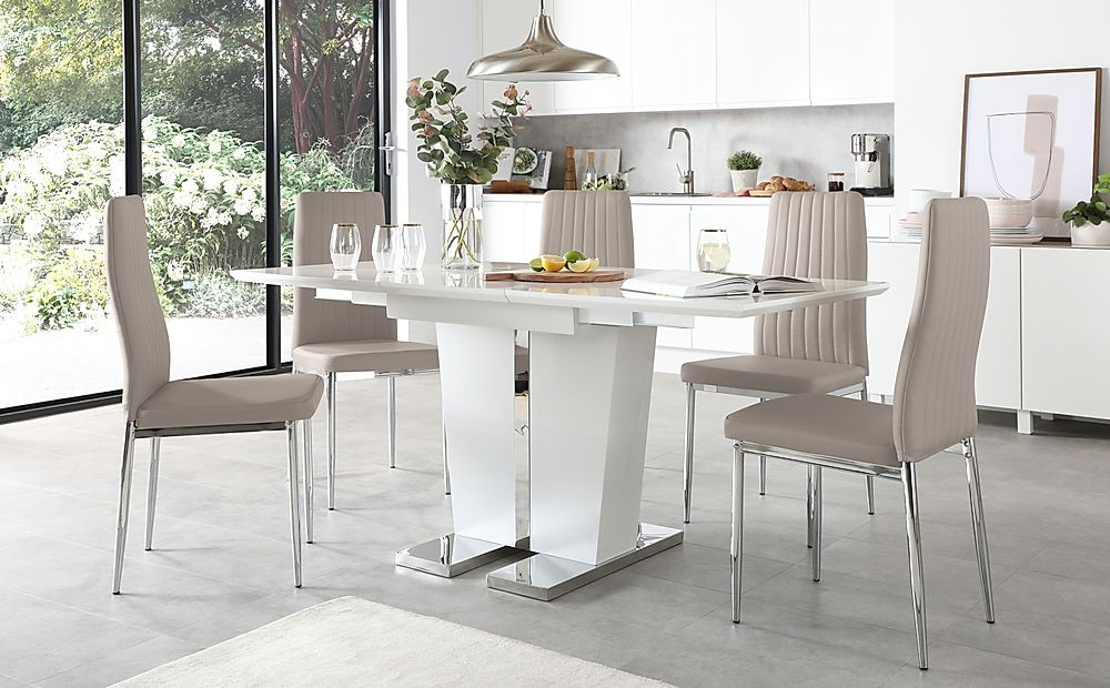Vienna White High Gloss Extending Dining Table with 6 Leon Taupe Leather Chairs