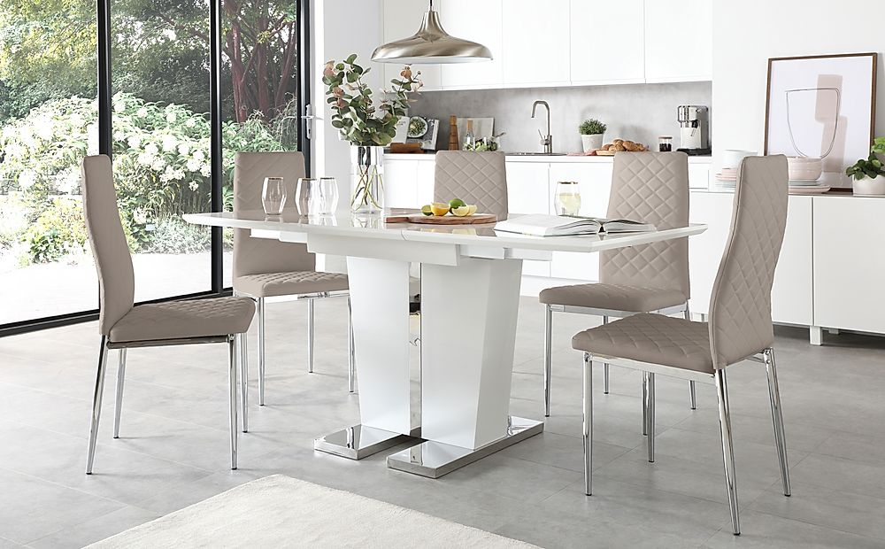 Vienna White High Gloss Extending Dining Table with 4 Renzo Taupe Leather Chairs