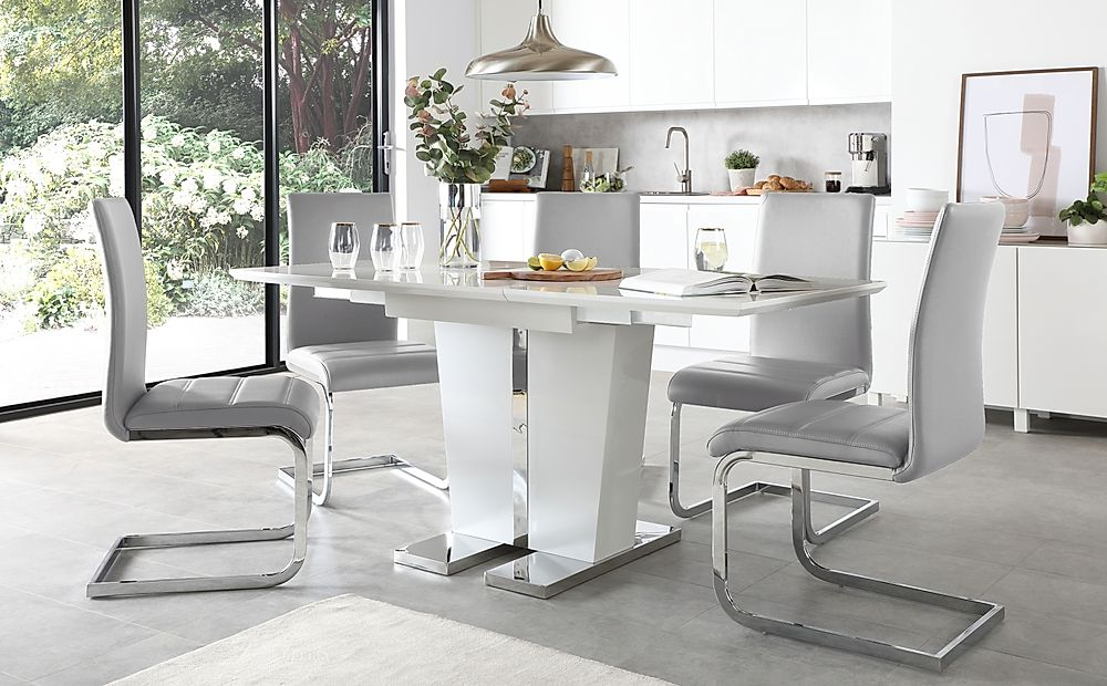 Vienna White High Gloss Extending Dining Table with 6 Perth Light Grey Leather Chairs