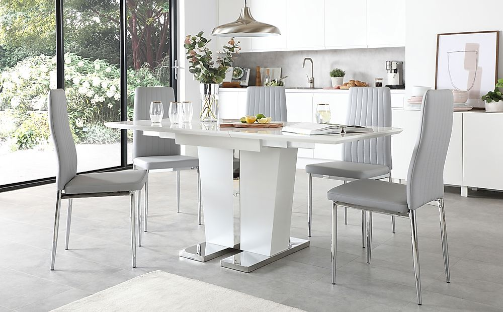 Vienna White High Gloss Extending Dining Table with 4 Leon Light Grey Leather Chairs