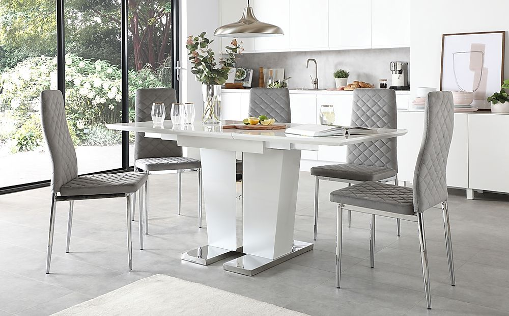 Vienna White High Gloss Extending Dining Table with 6 Renzo Grey Velvet Chairs